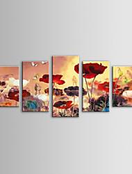 iarts moderna pintura a óleo paisagem selvagem flores conjunto de 5 telas pintadas a mão, com quadro esticado