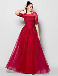 cheap -A-Line Jewel Neck Floor Length Tulle Open Back Formal Evening Dress with Beading / Appliques / Sash / Ribbon by TS Couture® / Illusion Sleeve