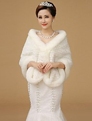 cheap -Long Sleeves Wool Wedding Party Evening Fur Wraps Shawls