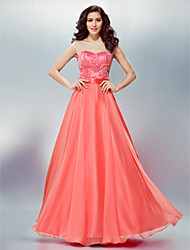 cheap -A-Line Scoop Neck Floor Length Chiffon Formal Evening Dress with Beading / Appliques / Sash / Ribbon by TS Couture®
