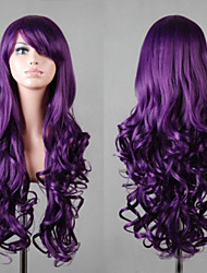 cheap -Synthetic Wig Curly Asymmetrical Haircut / With Bangs Synthetic Hair Natural Hairline Purple Wig Women's Long Capless
