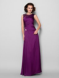 Sheath / Column Jewel Neck Floor Length Satin Chiffon Mother of the Bride Dress with Beading Lace Side Draping Crystal Brooch byLAN TING