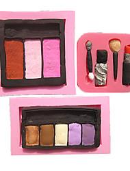 3pcs / set blush de la mode rouge à lèvres fard à paupières maquillage fondant moules à gâteau moule de chocolat pour la cuisine cuisson