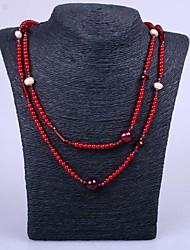 Damen Stränge Halsketten Perlenkette Perle Harz Modisch Rot Schmuck Party Alltag Normal 1 Stück