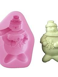 abordables -Torta del silicón 3d que adorna el muñeco de nieve del molde para la decoración de la Navidad y del partido, herramienta de la hornada