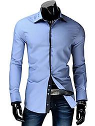 Herren Solide Einfach Lässig/Alltäglich Hemd,Hemdkragen Langarm Blau Braun Lila Baumwolle