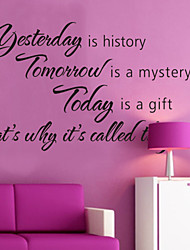 cheap -Wall Stickers Wall Decals, Style Yesterday is History English Words & Quotes PVC Wall Stickers