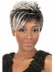 cheap -Women Synthetic Wig Short Wavy Grey Dark Roots Highlighted/Balayage Hair Pixie Cut With Bangs Halloween Wig Carnival Wig Costume Wig