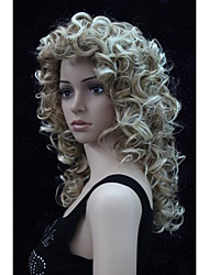 New Fashion Charming 50CM Strawberry Blonde Mix Blonde Tip  Women's  Curly Synthetic Wigs