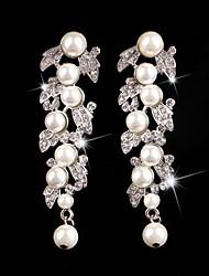 Vintage Party Wedding Princess Birde Crown Rhinestone Crystal Pearl Long Silver Earring