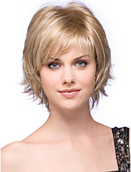 cheap -High Quality Capless Short Wavy Mono Top Human Hair Wigs Six Colors to Choose