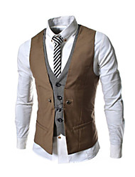 cheap -Men's Solid Casual / Work / Formal Slim Vest Top,Cotton Blend Sleeveless Black / Blue / White / Beige / Gray All Seasons