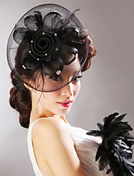 cheap -Tulle Feather Net Flowers Hats Headpiece Classical Feminine Style