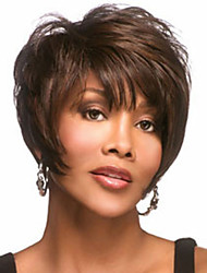 cheap -Wigs Straight Curly Short Darkest Brown Daily