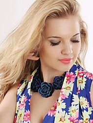 povoljno -Žene Izjava Ogrlice - Europska Roses Cvijet Plava zaslon u boji Ogrlice Za Party