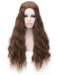 cheap -Synthetic Wig Curly Asymmetrical Haircut Synthetic Hair Natural Hairline Brown Wig Women's Long Capless