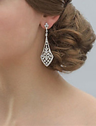 cheap -Vintage Women's Silver Crystal long Earring For Birde Wedding