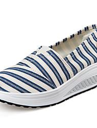 Damen-Loafers & Slip-Ons-Lässig-Leinwand-KeilabsatzHellblau