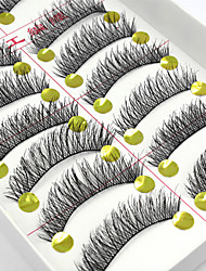 cheap -10 Pairs Handmade Natural Long Black False Eyelashes Cross Soft Thick Fake EyeLashes Makeup Eyelashes Extensions