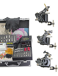 cheap -Tattoo Machine Professional Tattoo Kit 3 steel machine liner & shader High Quality Mini power supply 2 x iron grip 2 x aluminum grip 50