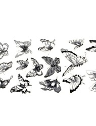 cheap -1pc Chic Waterproof Temporary Tattoos Neck/Wrist/Arm/Finger Tattoos Glitter Grey Butterfly Tattoos(24*10CM)