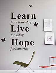 cheap -Wall Stickers Wall Decals, Style Learn From Yesterday English Words & Quotes PVC Wall Stickers
