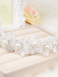 Women's Flower Girl's Lace Crystal Imitation Pearl Headpiece-Wedding Special Occasion Casual Flowers
