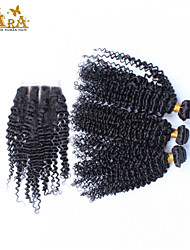 cheap -Peruvian Hair Curly Weave Kinky Curly Human Hair Weaves 3 Pieces Hair Weft with Closure