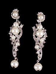 cheap -Vintage Pearls Crystal Earring Jewelry Wedding Silver Earring For Bridal Lades