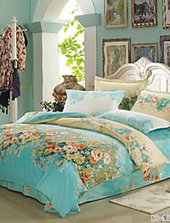 Hellblau Blumen Reaktivdruck 1 Stk. Bettdeckenbezug