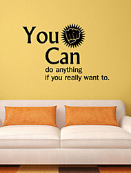 cheap -Wall Stickers Wall Decals, Style You Can English Words & Quotes PVC Wall Stickers