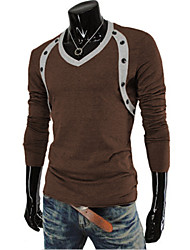 Men's Daily T-shirt,Houndstooth V Neck Long Sleeves Cotton