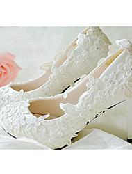 Недорогие -Для женщин Обувь Кожа Весна Лето Осень Зима На толстом каблуке Стразы Цветы Назначение Свадьба Белый