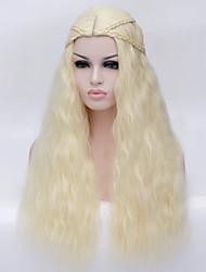 billige -Syntetiske parykker Krøllet / Vand Bølge Gyldent Assymetrisk frisure Syntetisk hår Natural Hairline Gyldent Paryk Dame Lang Lågløs Blond