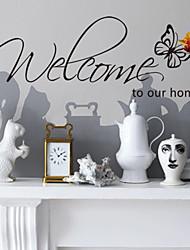 decalques de parede adesivos de parede, estilo de boas-vindas em casa palavras inglesas&cita parede pvc adesivos