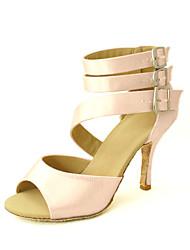 cheap -Women's Latin Shoes / Ballroom Shoes / Salsa Shoes Satin Sandal Buckle / Ribbon Tie Customized Heel Customizable Dance Shoes Yellow / Fuchsia / Purple