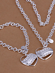 cheap -Jewelry Set - Cubic Zirconia, Silver Plated Heart, Love Party, Link / Chain, Fashion Include Silver For Party Special Occasion Anniversary / Necklace
