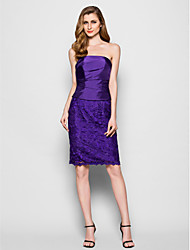 cheap -Sheath / Column Strapless Knee Length Lace Taffeta Mother of the Bride Dress with Lace Pleats by LAN TING BRIDE®