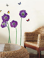 Wall Stickers Wall Decals, Purple Butterfly Flower PVC Wall Stickers