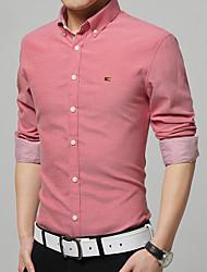 Masculino Camisa Casual / Tamanhos Grandes Cor Solida Manga Comprida Algodão / Misto de AlgodãoAzul / Verde / Rosa / Vermelho / Branco /