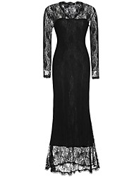 Women's Party Plus Size Sexy Sophisticated Bodycon Lace Dress,Solid V Neck Maxi Long Sleeves Polyester All Seasons Mid Rise Micro-elastic