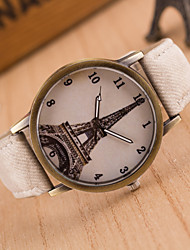 cheap -Women's Fashion Watch Casual Watch Quartz Hot Sale Leather Band Eiffel Tower Black White Blue Red Brown Green Pink Yellow
