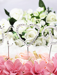 baratos -Decorações de Bolo Tema Clássico Monograma cromada Casamento / Aniversário / Chá de Cozinha com Pedrarias 1 pcs PPO