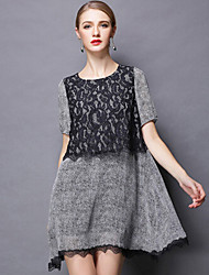 cheap -Women's summer wear the new big yards increased fertilizer show thin lace short-sleeved dress