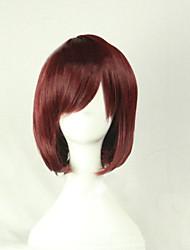 abordables -Perruque Synthétique / Perruques de Déguisement Droit Coupe Asymétrique Cheveux Synthétiques Ligne de Cheveux Naturelle Marron Perruque Femme Court Sans bonnet