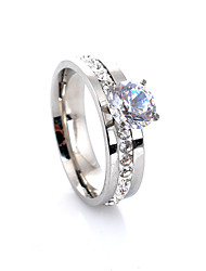 cheap -Women's Luxury Cubic Zirconia Alloy Engagement Ring Band Ring - Four Prongs Luxury Love Fashion European Silver Ring For Wedding Party