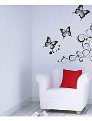 klasični crni cvijet zid umjetnosti za salon vina zidne naljepnice zooyoo051s DIY ukrasne naljepnice kućne dekoracije