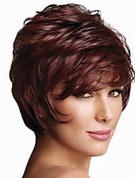 abordables -Perruque Synthétique Ondulation Naturelle Perruque Femme Sans bonnet Auburn foncé