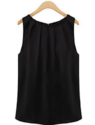 cheap -Women's Sexy Casual Plus Sizes Inelastic Sleeveless Long Blouse (Chiffon)