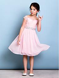 cheap -A-Line Off Shoulder Knee Length Chiffon / Lace Junior Bridesmaid Dress with Bow(s) / Crystals / Sash / Ribbon by LAN TING BRIDE® / Natural